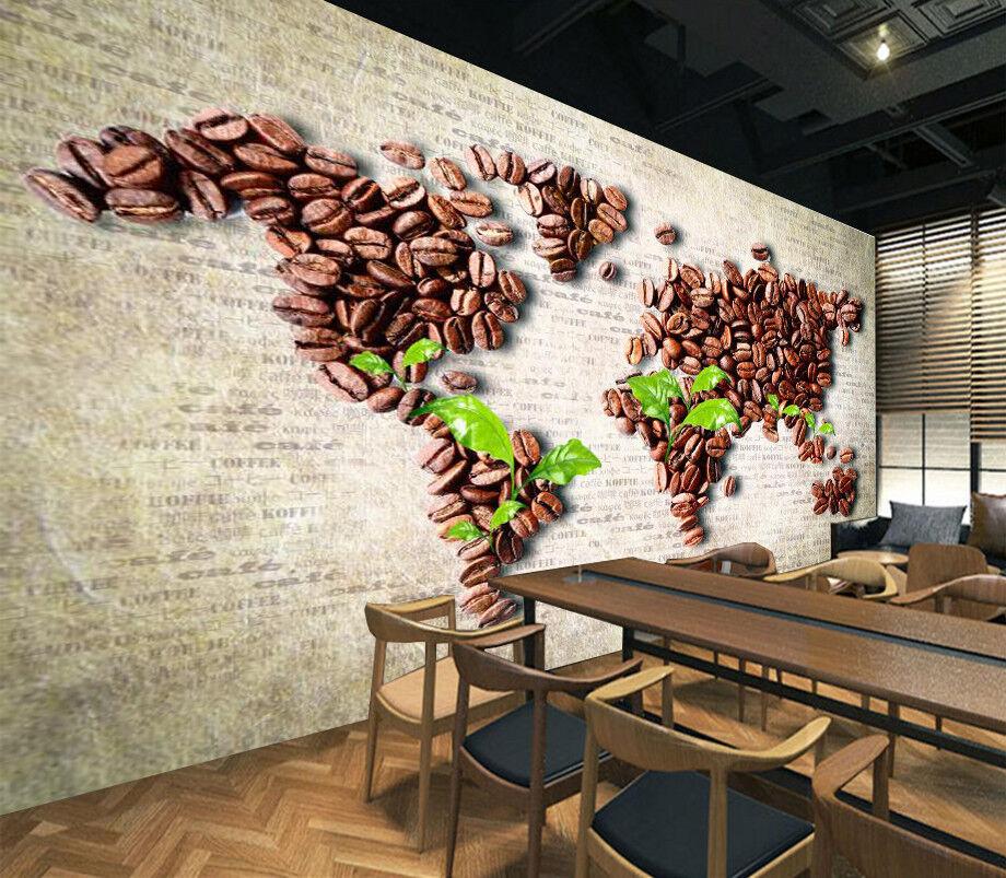 3D Coffee Beans Map 74 Wall Paper Murals Wall Print Wall Wallpaper Mural AU Kyra