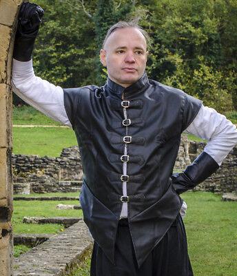 """Larp Doppietto In Finta Pelle, Medievale Costume Cosplay 36"""" A 44"""" Sul Petto Ridotto-mostra Il Titolo Originale Altamente Lucido"""