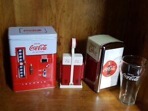 Vintage-90s-Coca-Cola-Napkin-Holder-Vending-Tin-Salt-Pepper-Shaker-And-Glass-Lot