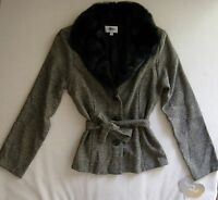Womens Dillards Heart Soul Faux Fur Collar Tweed Blazer Sweater Size L