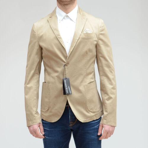 Giacca uomo elegante sportiva slim fit blazer Revers Style beige pochette