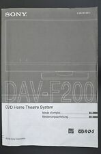Sony dav-f200 DVD ORIGINALE Home theater sistema manuale d'uso/mode d'emploi