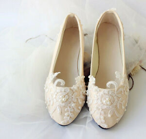 Champagne Wedding Shoes Lace Pearls Party Bridal Bridesmaid Flat Dance Shoes Ebay
