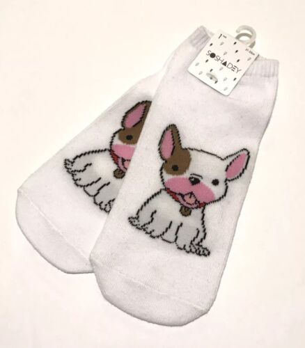 Forever 21 Socks French Bulldog Print One Size Ankle Cotton Blend Women's White