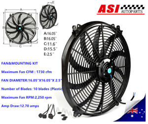 16 Inch 12v Pull Push 120w Radiator Electirc Thermo Fan Mounting Muscle Car
