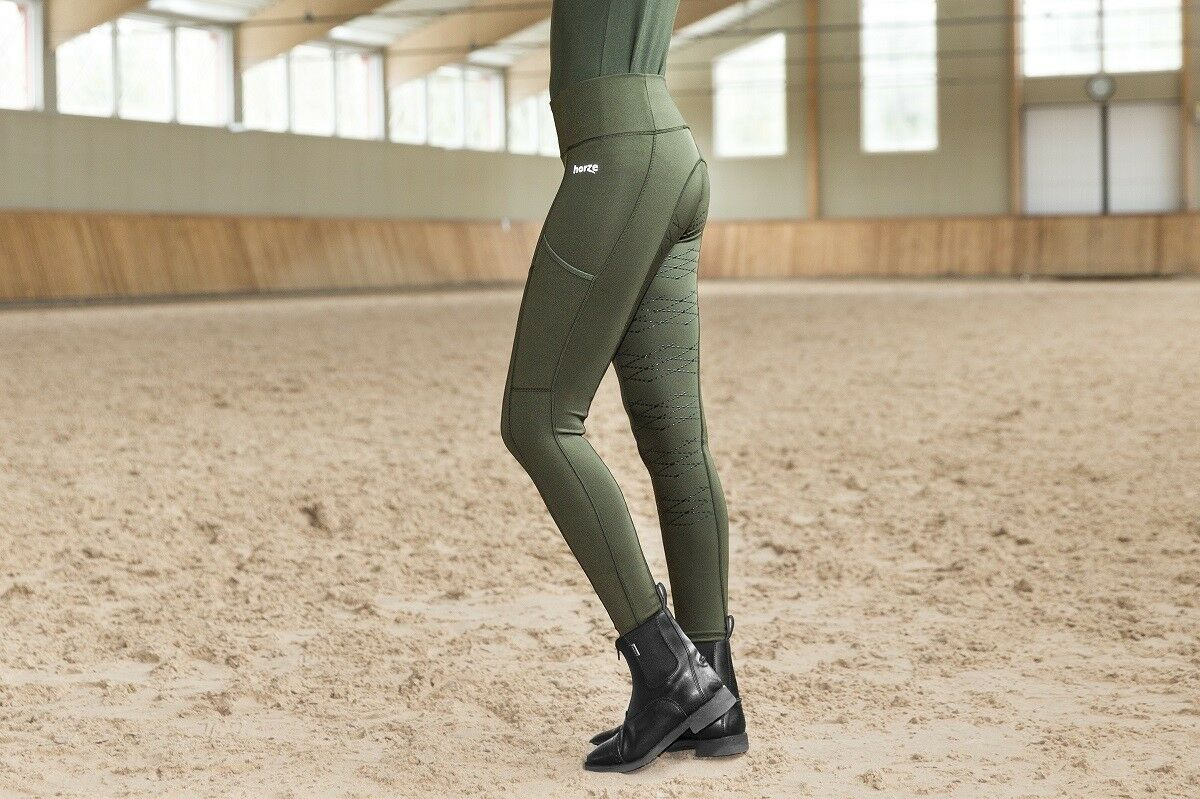 Horze  Kira Sage Green Womens Breathable Silicone Grip Fleece Lined Riding Tights  more order