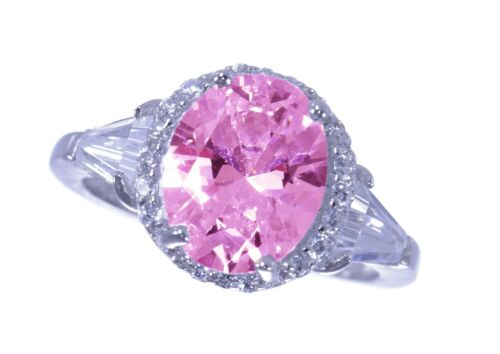 Large Pink Sapphire Oval Cut w// White Sapphire Baguette Sterling Silver Ring