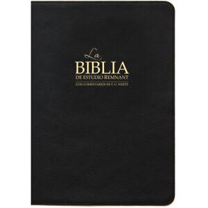 La Biblia de estudio remanente Piel Genuina Negro con E G comentario Blanco Totalmente Nuevo