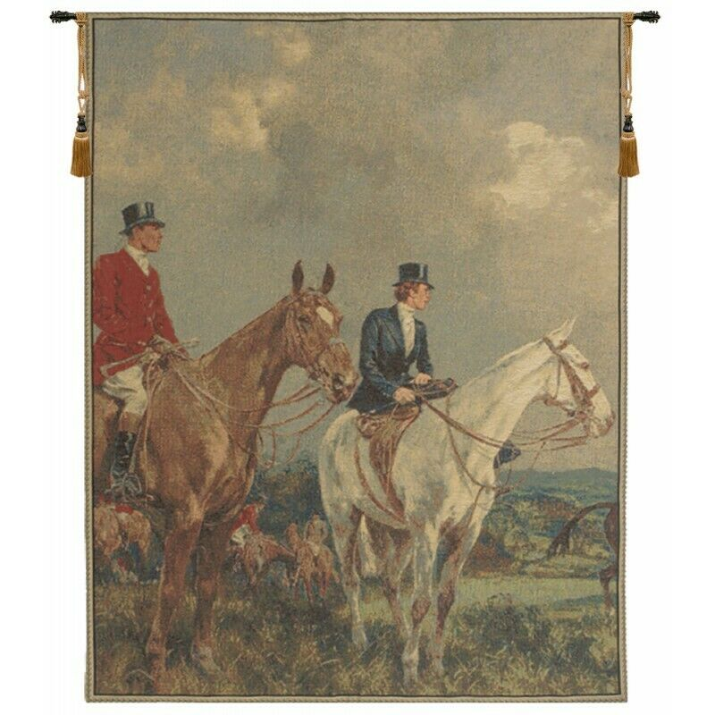 EQUESTRIAN SURVEY LEFT EUROPEAN TAPESTRY WALL HANGING H 34  x W 26