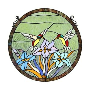 Tiffany Style Hummingbirds Floral Stained Glass Window Panel 20 Diameter 707772952888 Ebay