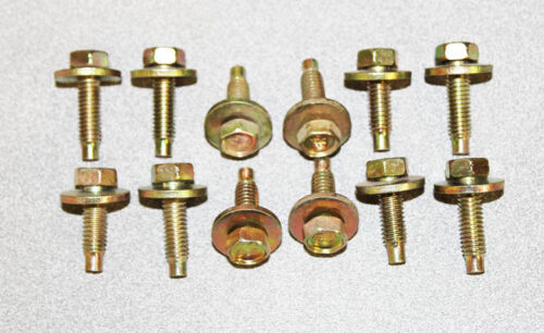 """NEW Mustang Fender Bolts Set 12 Pc Gold Yellow Zink Plated 12 pc 5//16 x 18/"""""""