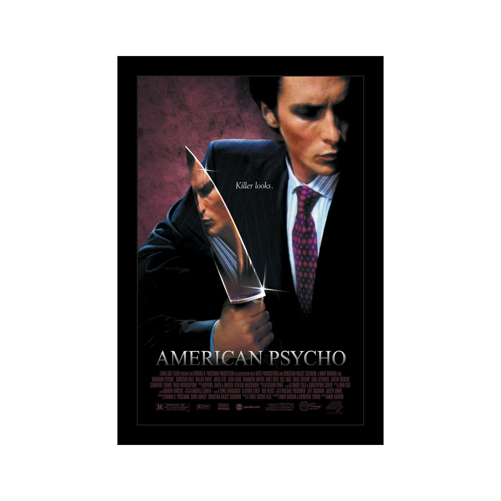 AMERICAN PSYCHO - 11x17 Framed Movie Poster by Wallspace