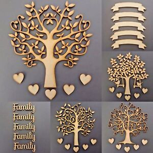 Wooden-Family-Tree-Kit-Set-Banner-30mm-Hearts-Word-Craft-Blank-Shape-MDF