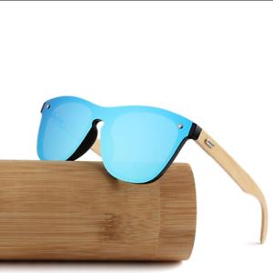 auténtico buena reputación compra original Details about Gafas de sol polarizadas lentes para Hombre Mujer Diseño de  bambú espejo UV400