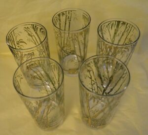 1960s-Vintage-Gold-Gilt-Bamboo-Patterned-Tumblers-Set-of-5