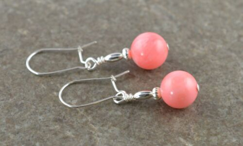 Pale Salmon Pink Natural Coral Gemstone /& Sterling Silver Drop Earrings Gift Box