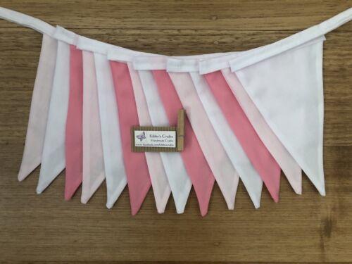 nursery decor photo cake smash prop Fabric bunting flags pink and white plain
