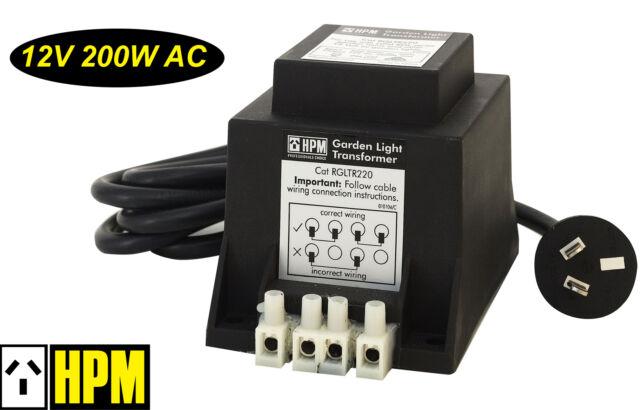 Hpm 12v Ac 200w Weatherproof Garden Light Stepdown Transformer Ip56