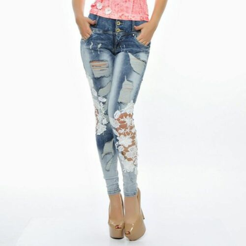 Foggi Jeans Donna Jeans Donna Pantaloni Pantaloni Jeans A Sigaretta hüftjeans Hüfthose 34-38 #f30