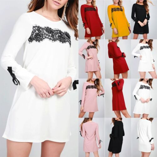 Ladies Womens Round Neck Detail Shift Floral Lace Insert Ribbon Swing Mini Dress