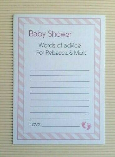 Advice Cards ✯ 12 cards ☆ GIRL Personalised ✯ Baby Shower PINK  ✯