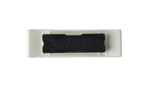 5 x Namensschild mit Magnet gewölbt Kunststoff weiss 70x20 mm NEU