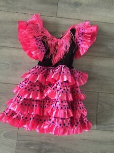6741541ef7716 World Book Day Girls Spanish Flamenco Fancy Dress Costume PINK Black ...