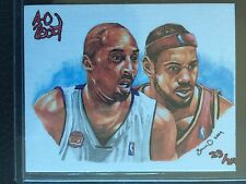 KOBE BRYANT LEBRON JAMES AOJ SKETCH CARD #'d 23/24 ! SUPER RARE LIMITED