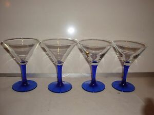 Cobalt Blue Stem Margarita Glasses 77