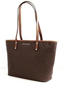 Details about Michael Kors Bag Handbag Jet Set Travel Md Tz Tote Bag Braun Acorn New