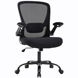 Home Office Chair Mid Back Adjustable With Lumbar Support Arms Swivel Rolling Ebay