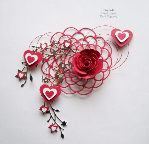 Día de San Valentín corazones Rose /& Alambre Diseño Tarjeta Artesanía Topper Val 07//20 Rojo