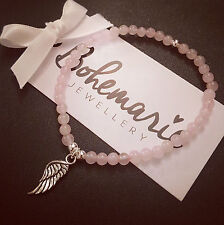 Rose quartz mini angel wing bracelet gemstone protection bijoux jewellery boho