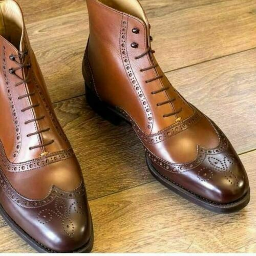 Men Leather Ankle High Wingtip Brogue Boots Handmade Men's Brown Lace Up Boots