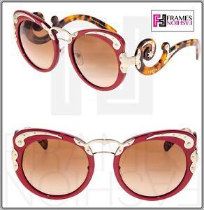 acee9c5be53 PRADA MINIMAL BAROQUE Swirl PR07TS Red Brown Havana Gold Sunglasses ...