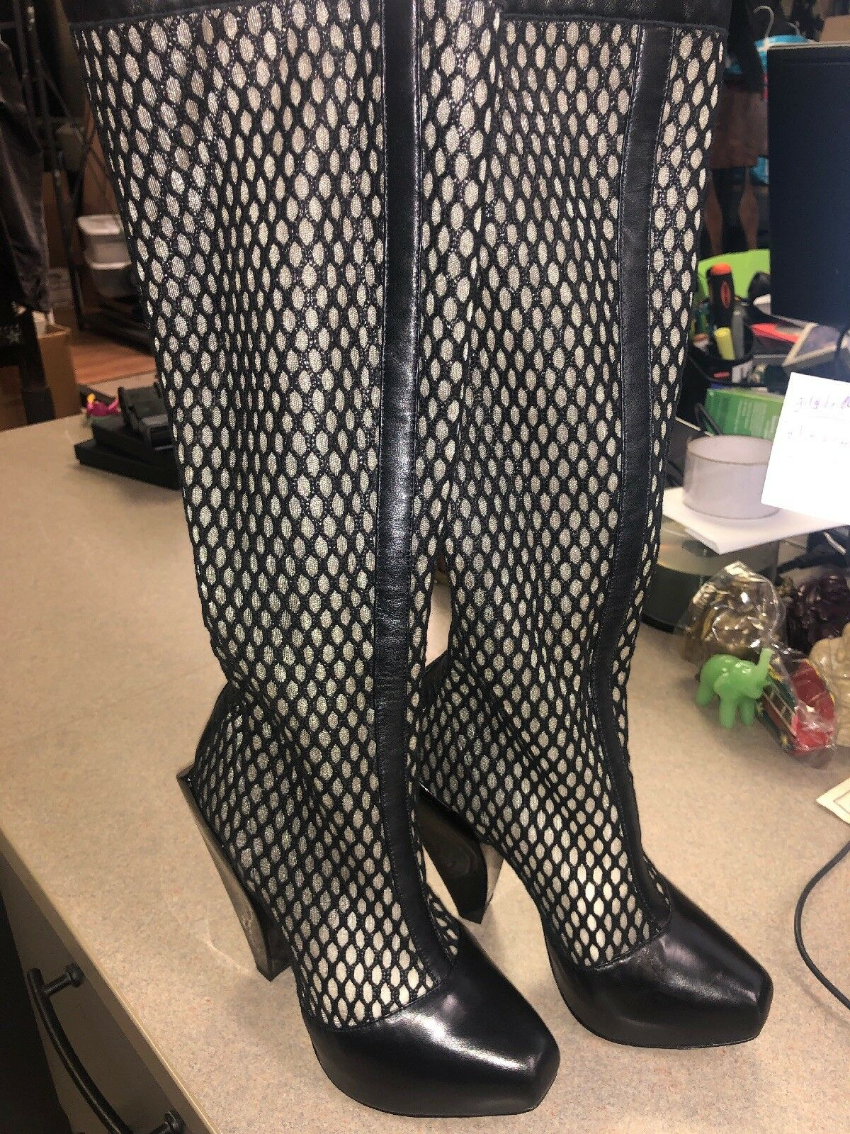 Versace Charol Charol Charol Negro botas Jaula de plataforma 35  ventas en linea