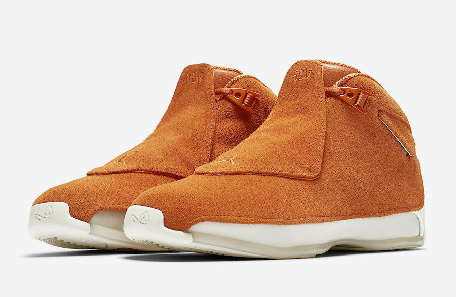 2018 Nike Air Jordan 18 Retro SZ 8-14 Campfire orange Suede Sail AA2494-801