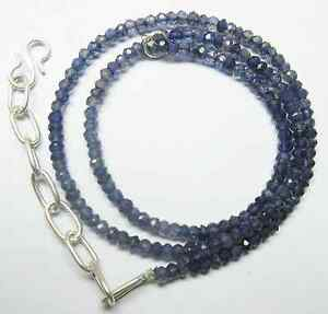 55.00 Ct Natural Iolite Micro Faceted Beads 19.5''Inch Necklace 4MM S112