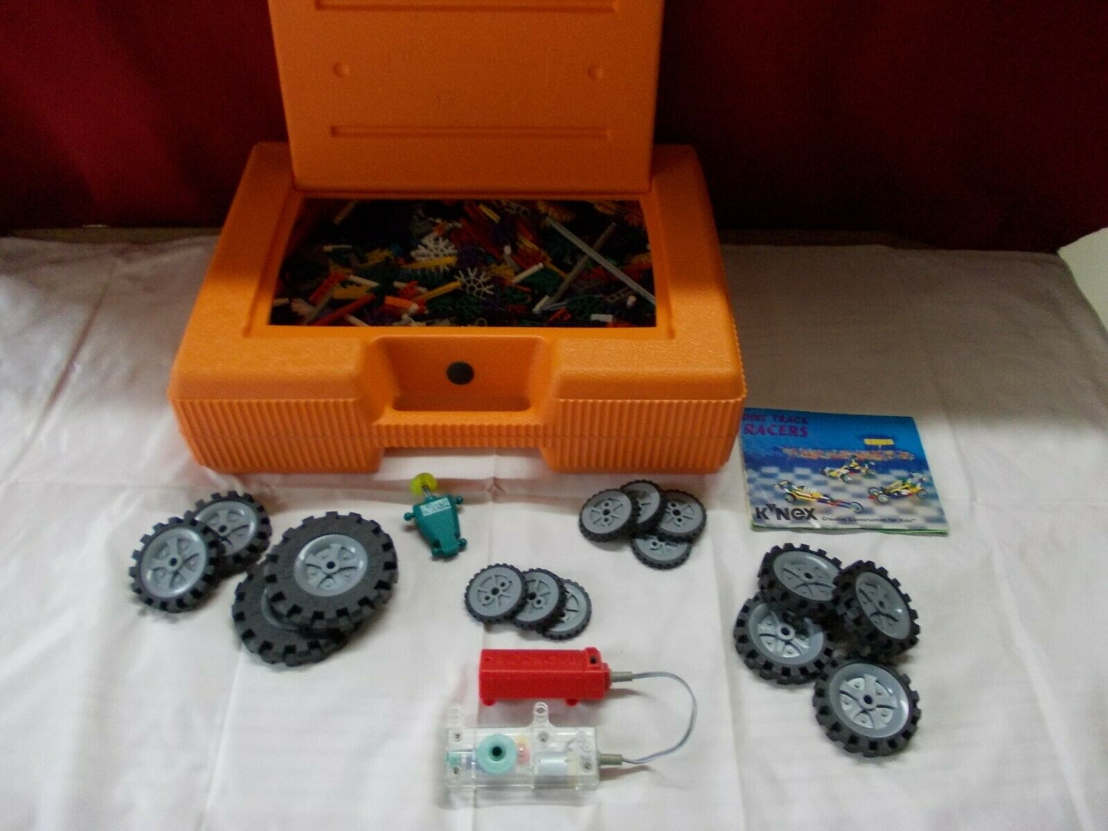 K'nex Grosse koffer Orange mit +1100 teile 15 reifen konvolut + motor