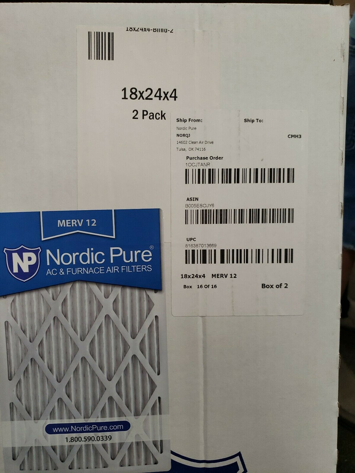 Nordic Pure 18x24x1 MERV 13 Pleated AC Furnace Air Filters 6 Pack