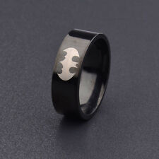 Punk Gothic Rock Black Batman Titanium 316L Stainless Steel Polished Ring Size 8