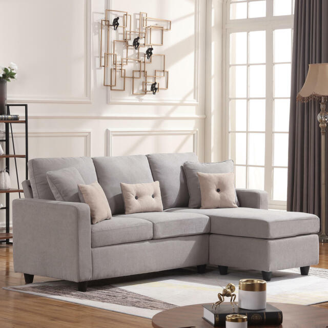 Light Grey Sectional Fabric Sofa L-Shaped Couch W/Reversible Chaise Small  space