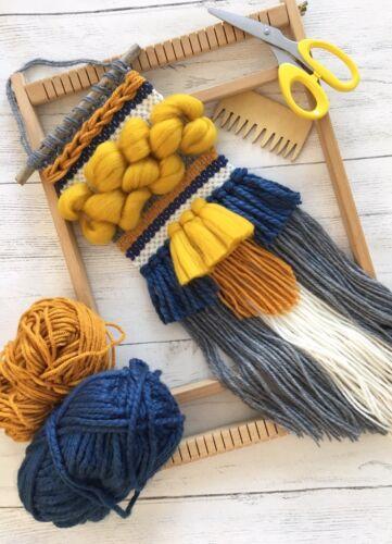 Handmade Woven Weaving Wall Hanging Mustard Navy Decor Tapestry Boho Scandi