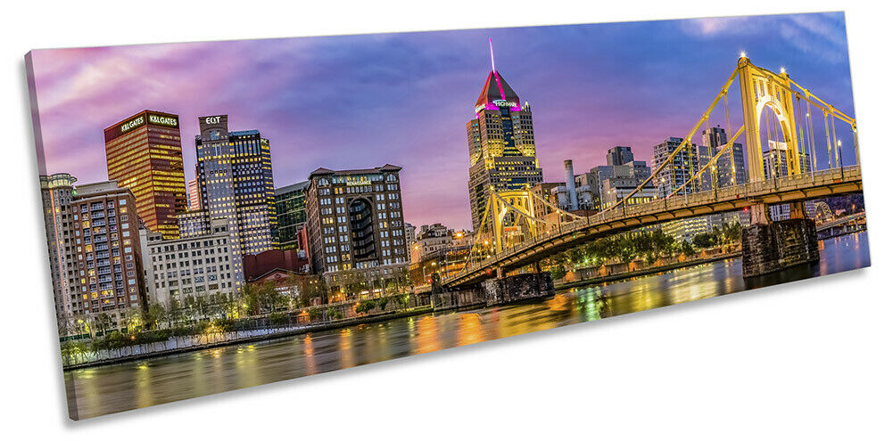 Pittsburgh City Skyline Sunset PANORAMA CANVAS WALL ART Picture Multi-Colourot