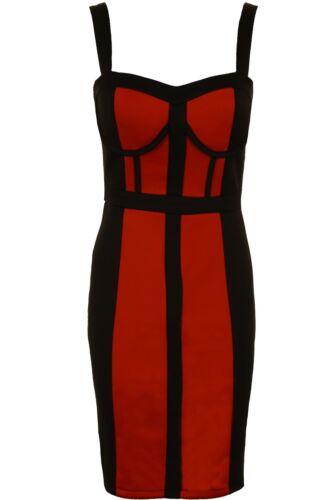 Women/'s Sleeveless Padded Bandeau Zip Panel Contrast Ladies Bodycon Dress