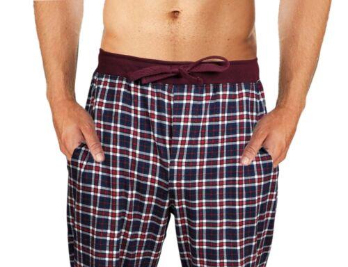 Mens Checked Cotton Red Navy Blue Pockets Ribbed Drawstring Waist Winter Pyjamas