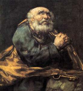 Oil painting francisco de goya - St Peter Repentant old man figures on canvas @@ | eBay