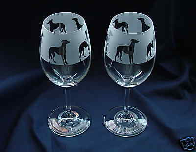Quality Wine Glasses..Boxed New etched Greyhound Dog gift
