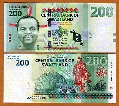 Low S//Ns UNC 200 Emalangeni 2010 P-40a Swaziland 2011