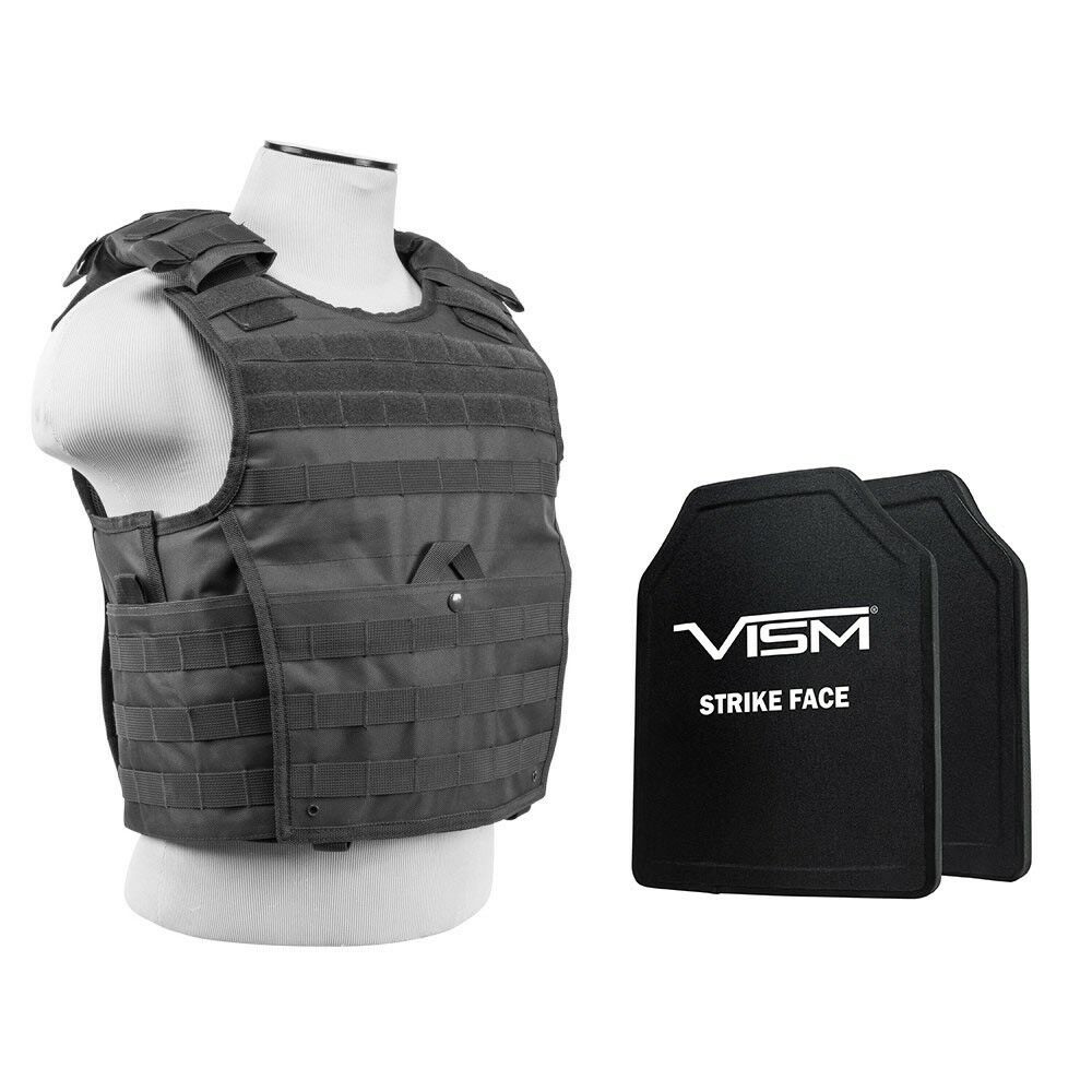 Expert Plate Carrier w 2 Level III+ Hard PE Shooters Cut Ballistic Bulletproof